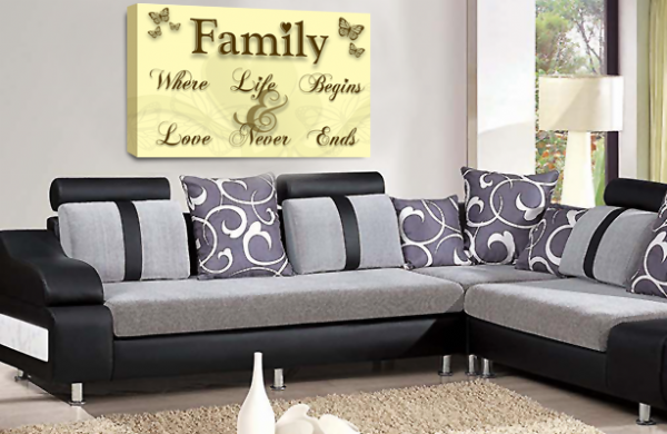 Family Quote Wall Art Picture Cream Brown Gold Love Print